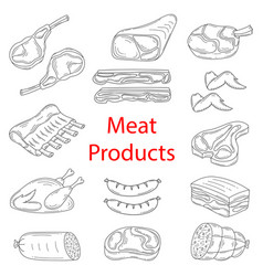 Meat products sketch vector