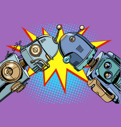 old robot vs new vintage vector image vector image