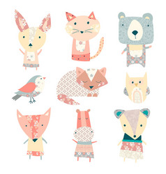 patchwork cute animal vector image