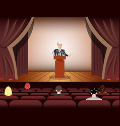 public speaker speaking to microphones on stage vector image
