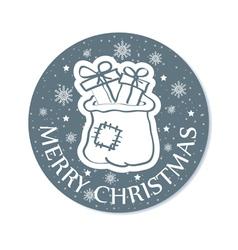 Round christmas card with santa bag grey vector