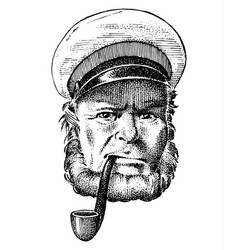 sea captain marine old sailor with pipe or vector image
