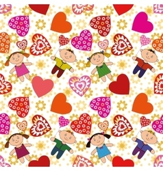 Seamless Background Children and Hearts vector image vector image