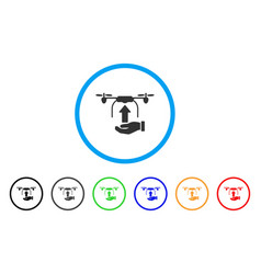 send drone hand rounded icon vector image vector image