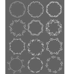 Set of hand drawn leafy frames vector image