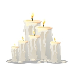 set of white candles with a burning wick vector image vector image