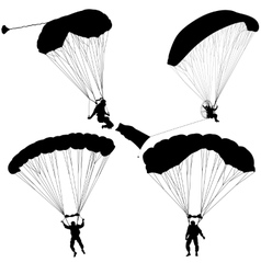 Set skydiver silhouettes parachuting vector