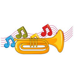 trumpet and music notes in background vector image vector image