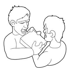 Two aggressive men fighting for box icon vector