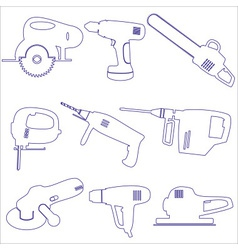 Various power tools outline icons set eps10 vector