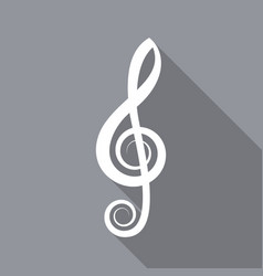 White treble clef flat icon vector