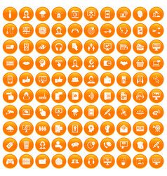 100 contact us icons set orange vector