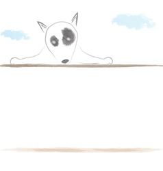 Bull terrier cute dog behind wall water color vector