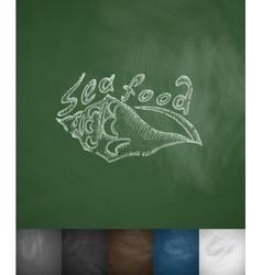 sea food icon Hand drawn vector image