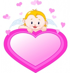 Little angel and valentine heart vector