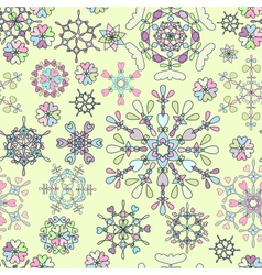 Seamless pattern with retro snowflakes vector image