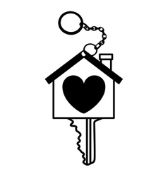 Silhouette key monochrome with shape heart vector