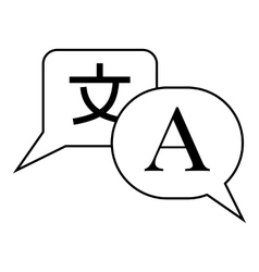 Bubble speech from english to japanese icon vector