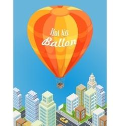 Hot air balloon flying over urban city aircraft vector