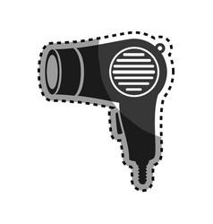 Monochrome sticker hairdryer utensil hairstyle vector