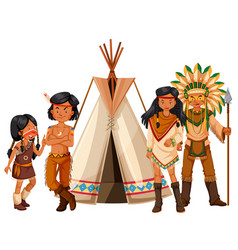 Native american indians standing by the teepee vector