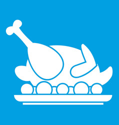 Roasted turkey icon white vector
