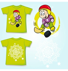 Kid shirt with hockey player printed - back and vector