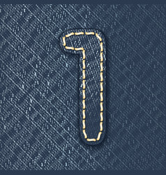 Number 1 made from jeans fabric vector