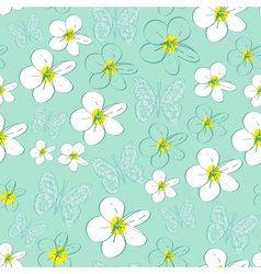 Seamless pattern with white flowers on a blue vector