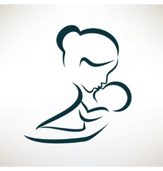 Mother and baby stylized symbol outlined sketch vector