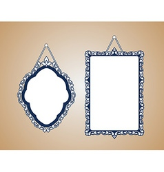 Vintage mirror frame hanging on the wall rich old vector