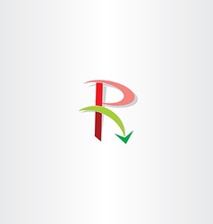 Green red letter r logo arrow element vector