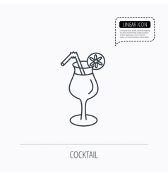 Cocktail icon glass of alcohol drink sign vector