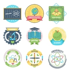 Color retro high school university and academy vector