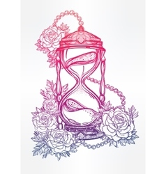 Hand drawn design of hourglass with roses vector