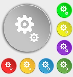 Gears icon sign symbol on eight flat buttons vector
