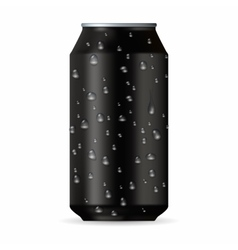 Realistic black aluminum can with drops vector