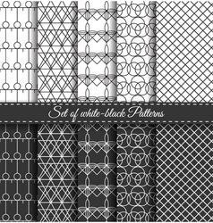 Set of black white pattern7 vector