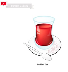 Traditional black hot tea popular drink in turkey vector