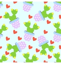 Cactus pattern background cute cacti vector