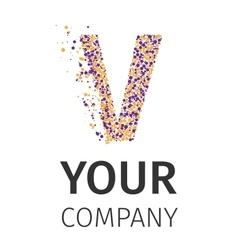 Alphabet particles logotype Letter-V vector image