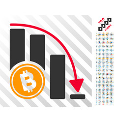 Bitcoin falling acceleration chart flat icon with vector