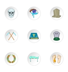 Burial icons set cartoon style vector image vector image