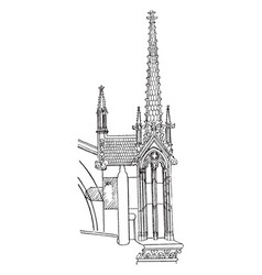 Buttress pinnacle notre dame vintage engraving vector