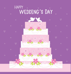 cake wedding flower sweet cute cartoon vector image vector image