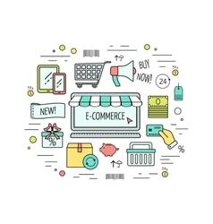 Color modern e-commerce web design concept line vector