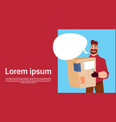 Courier man hold box delivery package post service vector