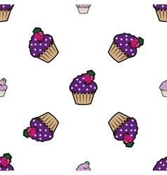 Cream cake purple seamless pattern vector image vector image