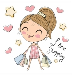Cute girl with bags vector image