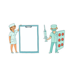 flat male female doctor in medical clothing vector image vector image